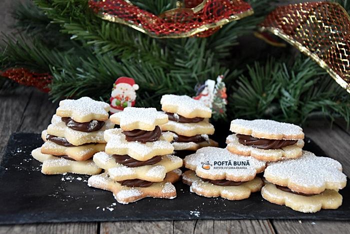 Biscuiti Fursecuri fragede cu crema de ciocolata reteta veche - Biscuiti, fursecuri fragede cu crema de ciocolata, reteta veche