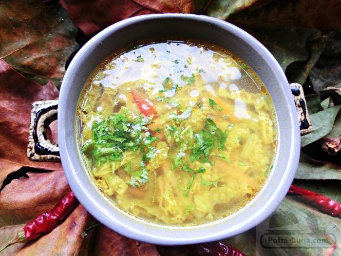 Supa de pui cu legume si turmeric (keto, dukan, low carb)