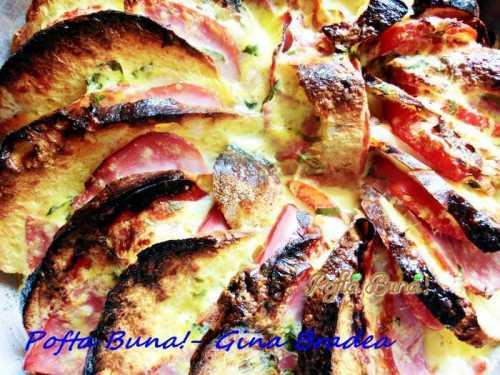 Pizza cu felii de paine