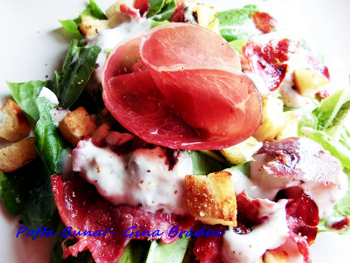 pofta buna gina bradea salata caesar cu prosciutto.jpg - Salata Caesar cu prosciutto