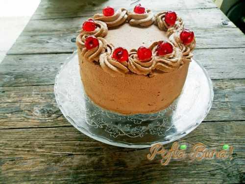 Tort cu ciocolata, iaurt si fructe