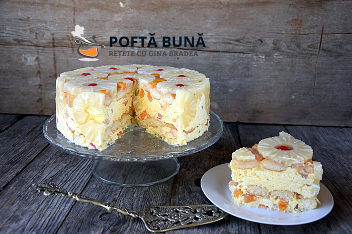 Tort Diplomat reteta rapida cu piscoturi sau blat - Tort Diplomat reteta clasica cu fructe, frisca si piscoturi