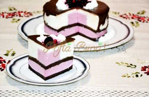 Tort de ciocolata cu mousse de iaurt si mure-Placinta Oana