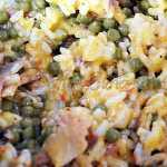 Budinca de orez cu mazare si pui