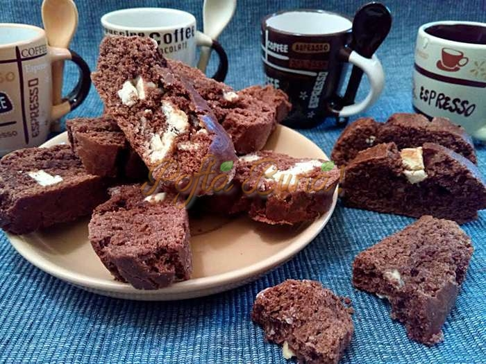 Cantuccini cu cacao si ciocolata alba pofta buna cu gina bradea 3 - Cantuccini cu cacao si ciocolata alba