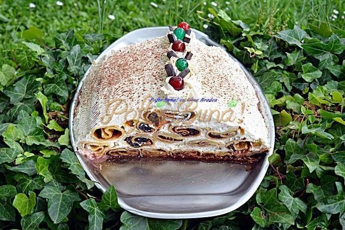 Tort cusma lui guguta din clatite cu frisca si visine pofta buna cu gina bradea 7 - Tort cusma lui Guguta din clatite
