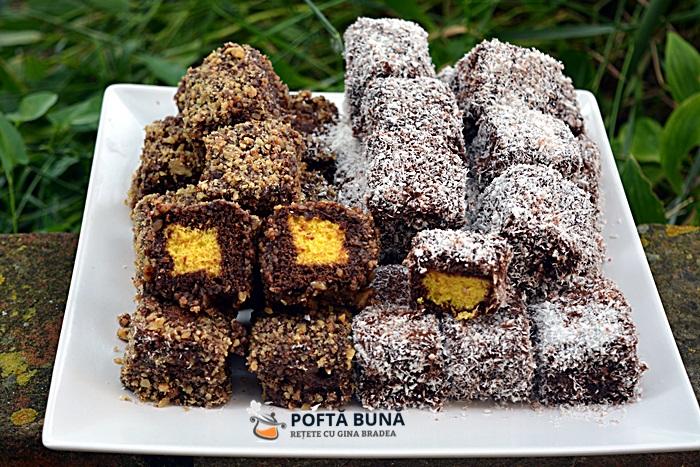 Prajitura tavalita reteta veche cu ciocolata si nuca - Prajitura tavalita cu nuca si cocos - Lamington