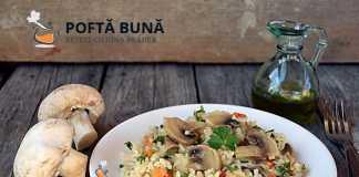 Pilaf de post cu ciuperci, reteta simpla, ieftina si rapida