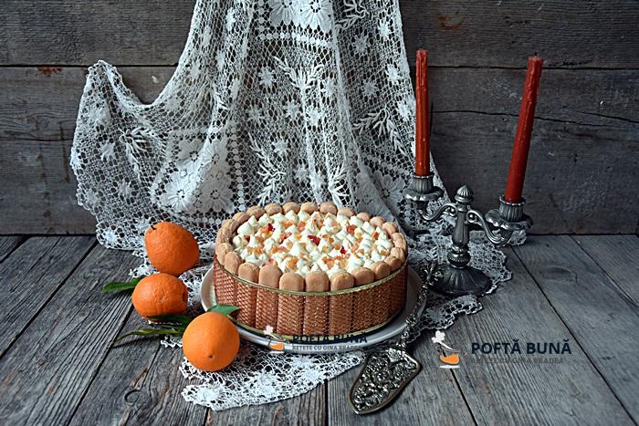 Tort Tiramisu cu portocale, fara oua, reteta rapida