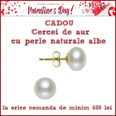 cadou special cercei de aur cu perla naturala alba 1 - Concurs de Martisor 2018 de la Cadouri si perle
