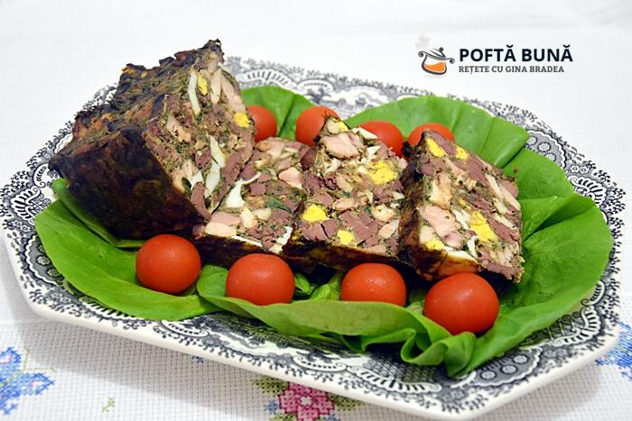 Chec mozaic din carne si ficat de pui reteta - Drob mozaic din carne si ficat de pui sau curcan