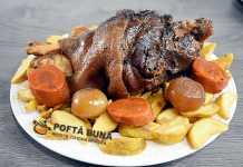 Ciolan de porc cu bere si legume la slowcooker