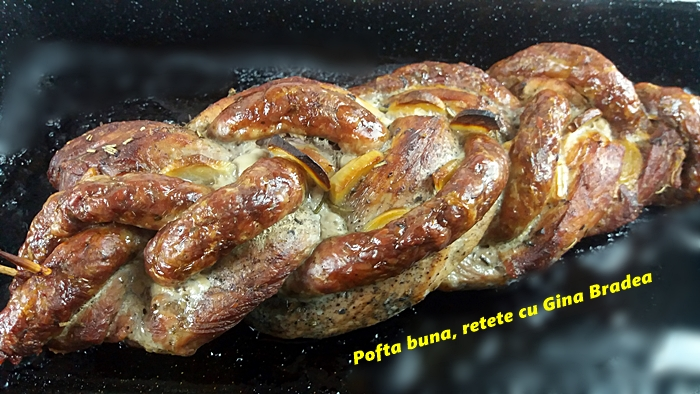Muschiulet de porc impletit cu carnat de casa reteta veche simpla gina bradea 4 - Muschiulet de porc impletit cu carnati de casa, reteta veche, simpla