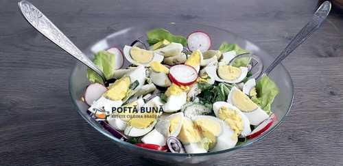 Salata orientala - reteta cu oua fierte si ceapa verde