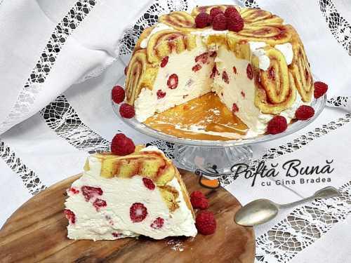 Tort cupola cu zmeura swiss roll cake tort rulada cu fructe 3 500x375 - Tort cupola, roll-cake sau tort rulada cu sarlota de vanilie si fructe