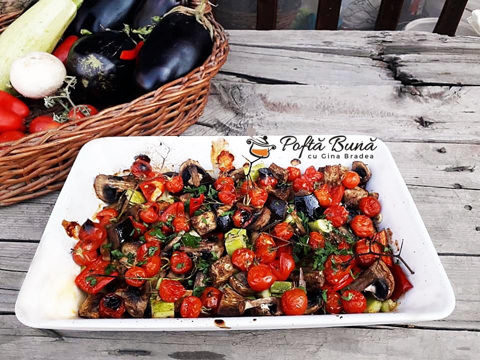 Legume la cuptor cu usturoi: vinete, dovlecei, ardei, rosii