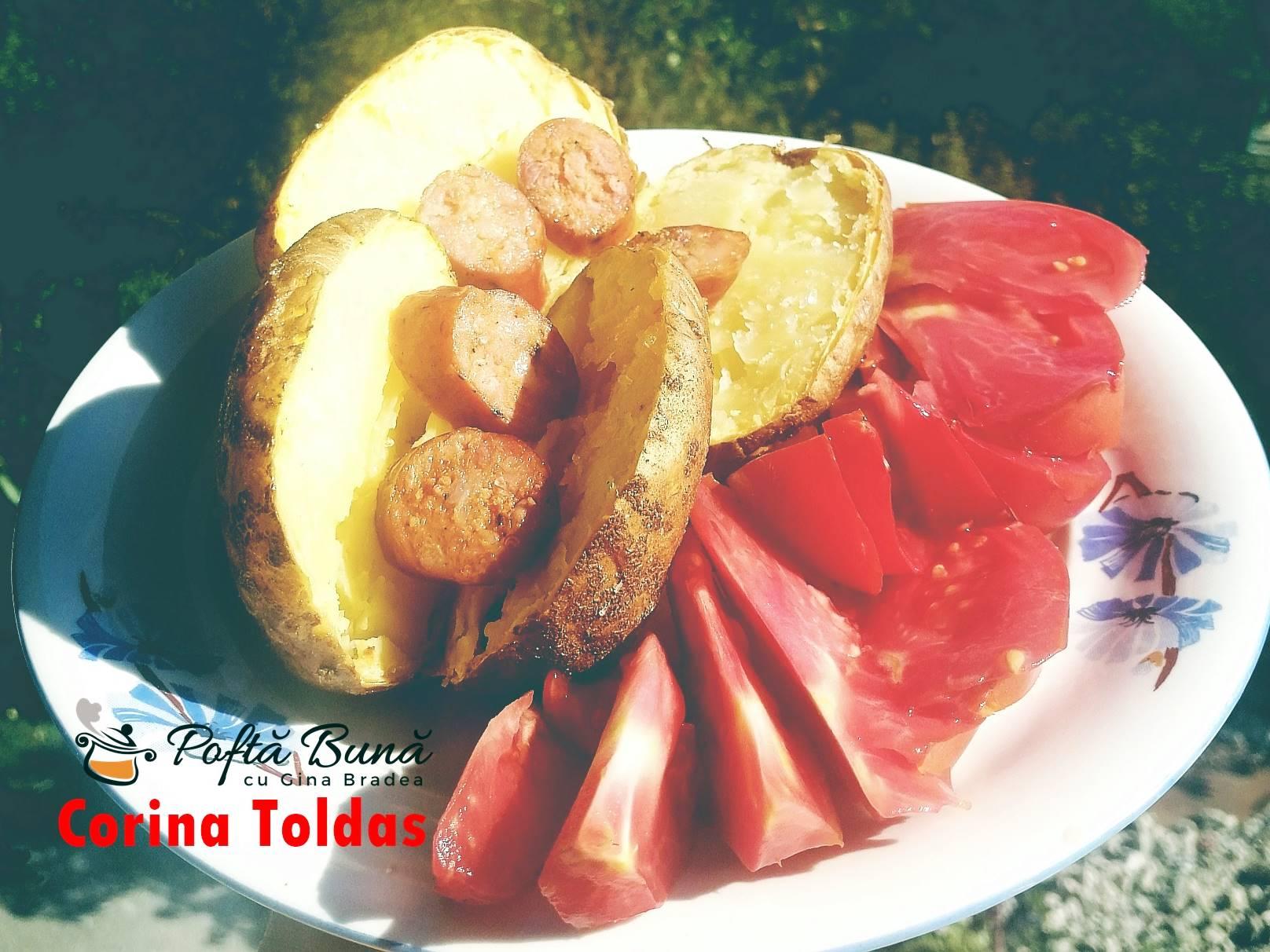 cartofi copti la cuptor reteta simpla rapida - Cartofi copti la cuptor, cu rosii si carnati afumati, reteta simpla