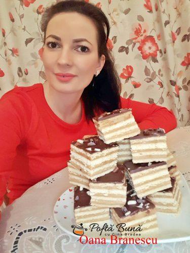 prajitura cu foi si crema de caramel reteta pas cu pas5 375x500 - Prajitură cu foi fragede, crema de caramel si ciocolata