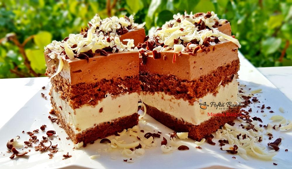 Prajitura Paradis de ciocolata cu blat de cacao, ciocolata alba si neagra