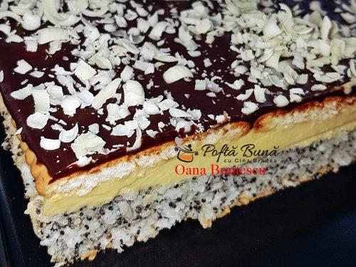 prajitura tosca reteta simpla5 1 500x375 - Prajitura Tosca cu mac, crema de vanilie, biscuiti si ciocolata