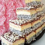 Prajitura Tosca cu mac, crema de vanilie, biscuiti si ciocolata