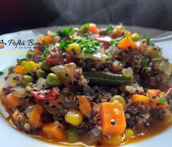 Quinoa cu legume si sos de rosii, reteta rapida, de post