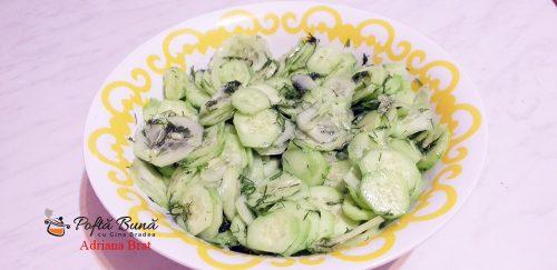 salata castraveti reteta rapida simpla 3 500x243 - Salata de castraveti cu usturoi si marar, reteta ardeleneasca
