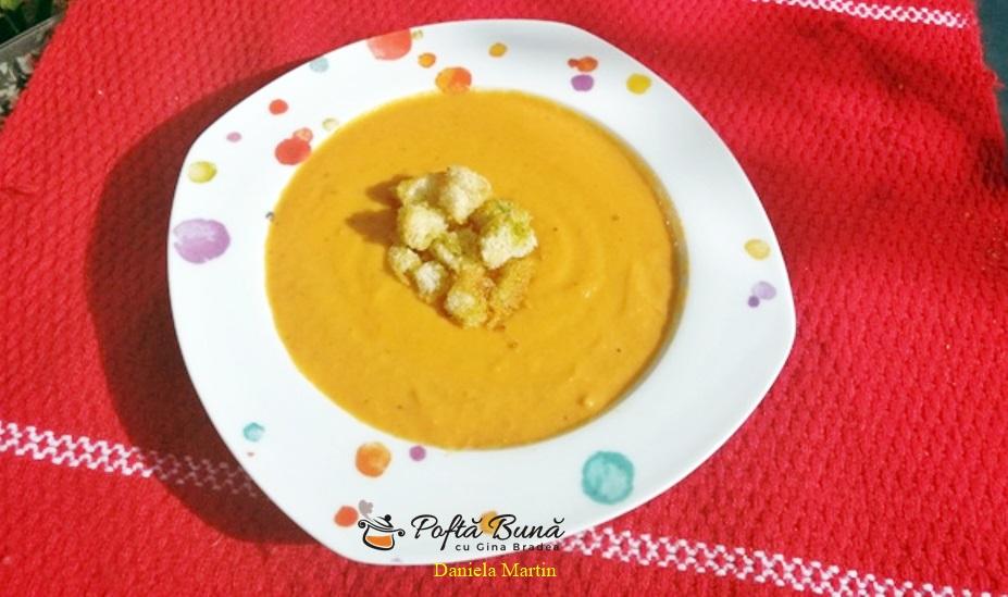 Supa crema de legume coapte, cu dovlecei si conopida