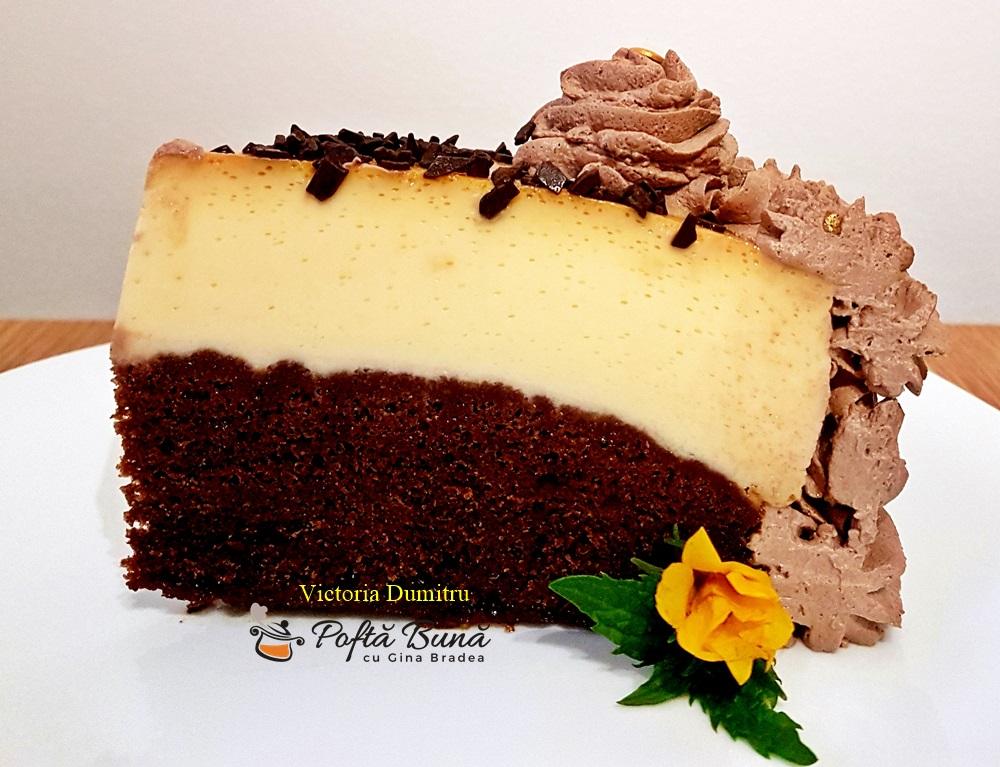 Chocoflan sau prajitura imposibila, tort cu cacao si crema de zahar ars