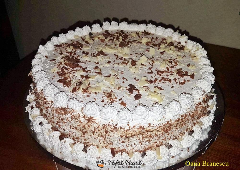 Tort cu crema de zahar ars si branza, reteta simpla si rapida