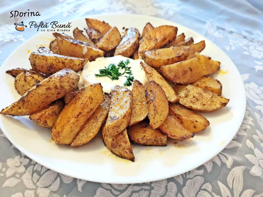 Cartofi wedges la cuptor, o garnitura rapida si gustoasa, fara mult ulei
