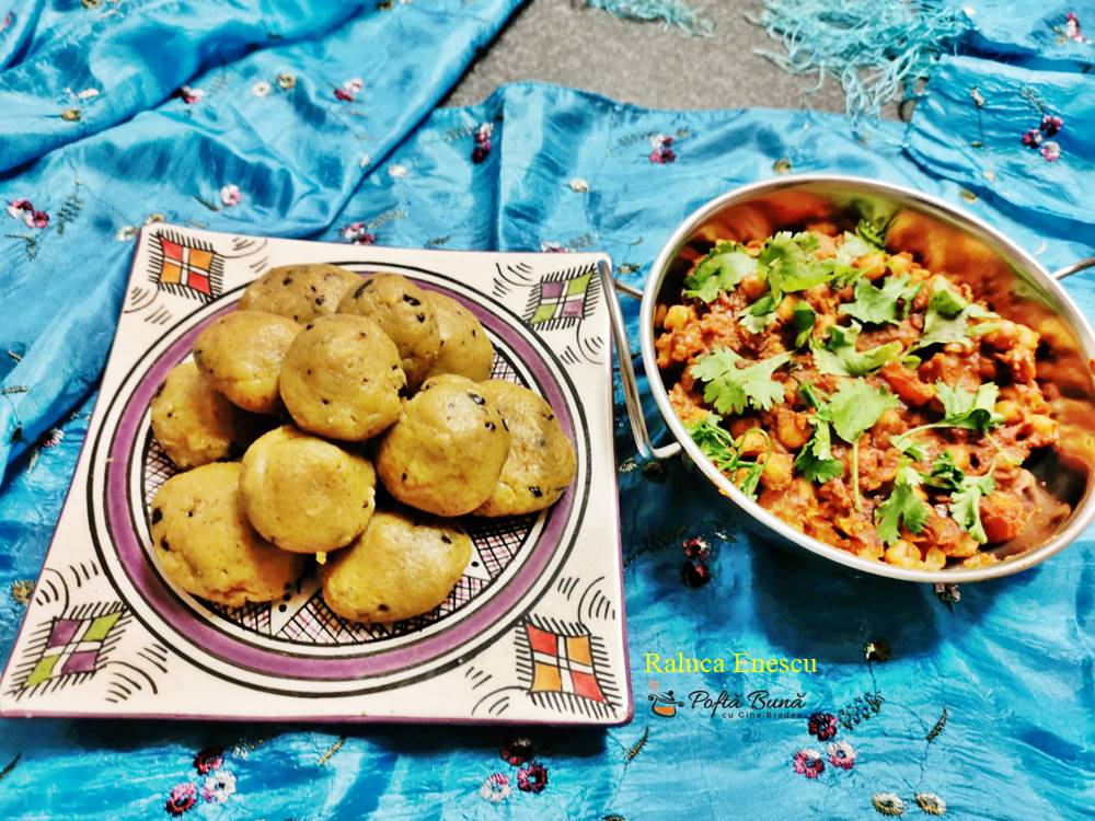 Chana masala, curry vegetarian cu naut si galuste de gris