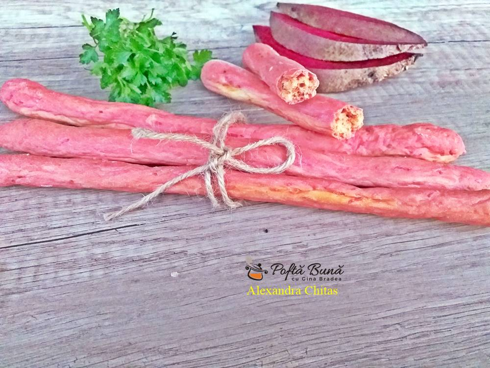 Grisine cu sfecla rosie si oregano, reteta pas cu pas