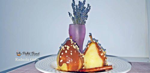 pere cu sos de ciocolata 4 500x243 - Pere fierte in vin, cu sos de ciocolata, reteta rapida