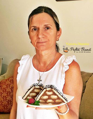 prajitura acoperis de casa reteta pas cu pas 1 392x500 - Prajitura acoperis de casa cu piscoturi si crema de ciocolata