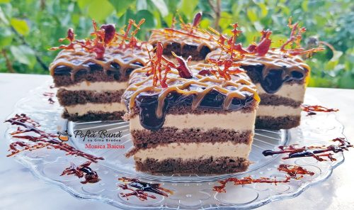 prajitura caramel reteta pas cu pas 5 500x296 - Prajitura Caramel cu foi de cacao, ciocolata si crema caramel