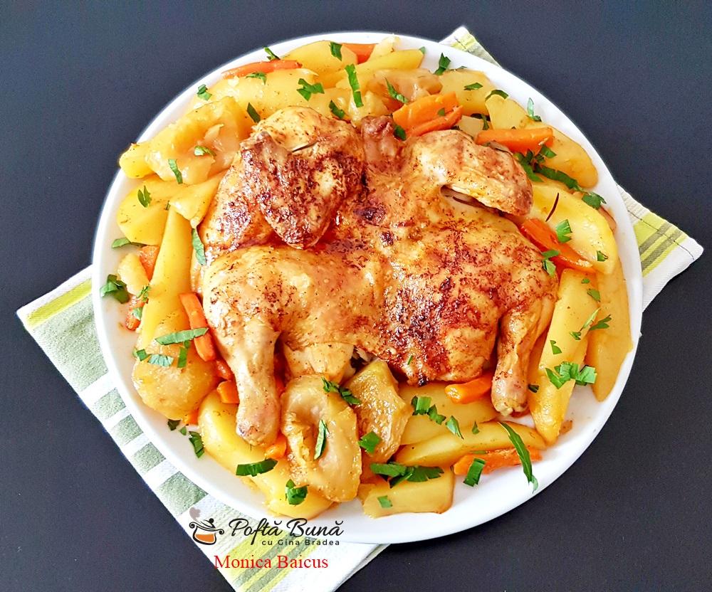 Pui la cuptor cu cartofi si mere, reteta simpla si rapida