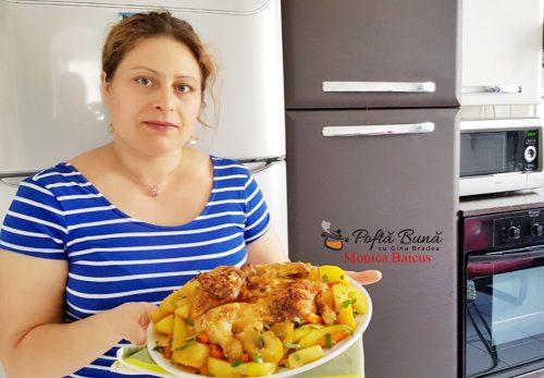 pui la cuptor cu cartofi si mere 2 500x347 - Pui la cuptor cu cartofi si mere, reteta simpla si rapida
