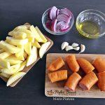 Carnati trandafiri cu cartofi, usturoi si ceapa rosie, la cuptor