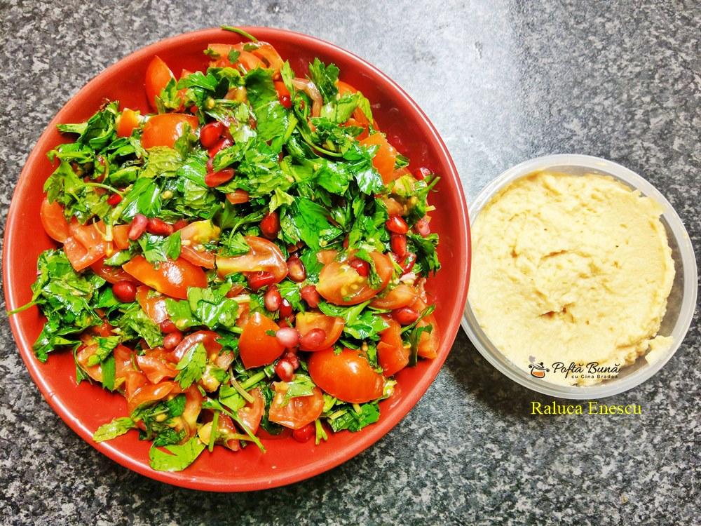 reteta hummus si salata de rosii cu rodii 2 - Hummus si salata de rosii cu rodii, reteta rapida, simpla si sanatoasa