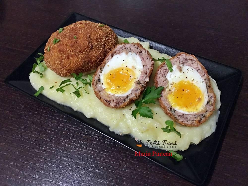 Oua scotiene, reteta de chiftele din carne tocata, umplute cu oua fierte