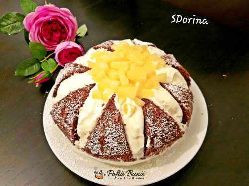 reteta tort kilimanjaro cu ananas 1 500x375 - Tort Kilimanjaro cu ananas, blat de cacao si crema de branza