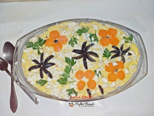 salata boeuf cu piept de pui 1 500x375 - Salata boeuf cu piept de pui, varianta romaneasca si gustoasa