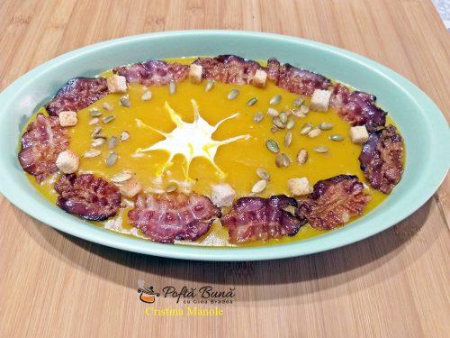supa crema de dovleac cu praz si cartofi reteta simpla 5 500x375 - Supa crema de dovleac cu praz si cartofi, cu smantana si bacon