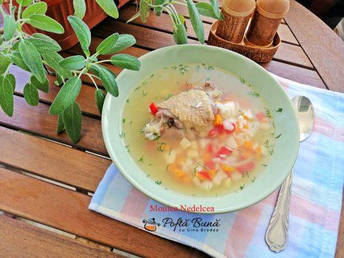 Supa de pui cu orez si legume, reteta simpla, pas cu pas