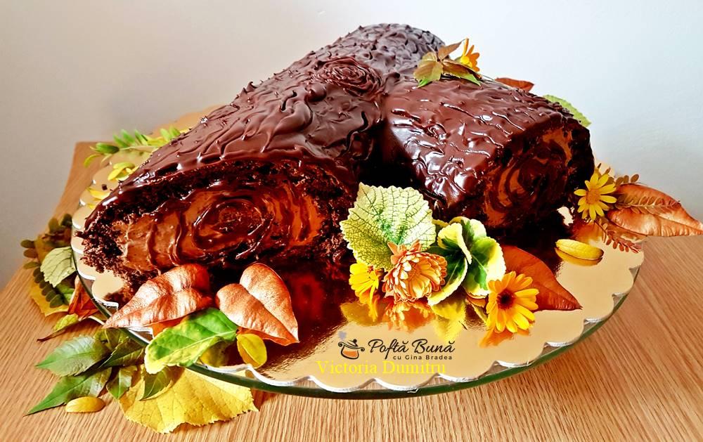 Tort buturuga, rulada de cacao cu crema de ness, reteta simpla
