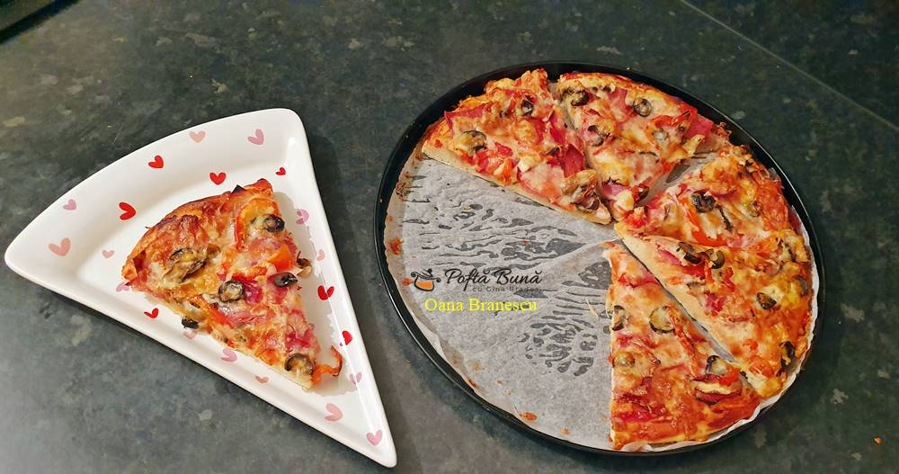 Pizza de casa cu blat pufos