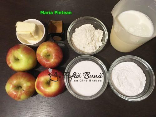Budinca de mere cu lapte si unt, reteta rapida