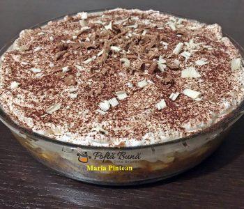 Tort Banoffee, cu biscuiti, banane si frisca
