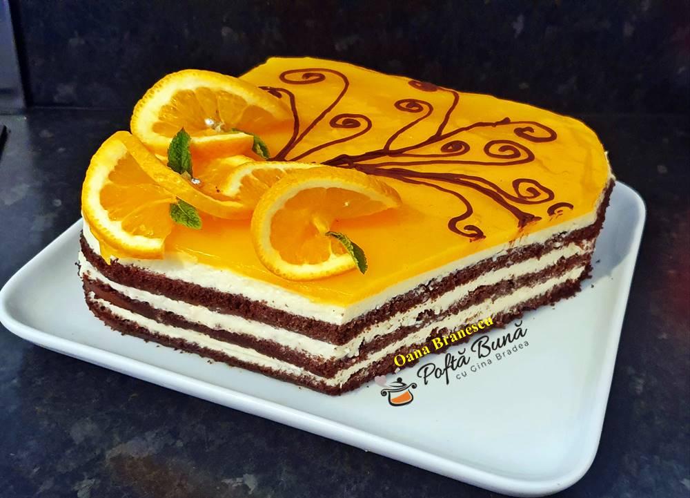 Tort cu crema de branza si jeleu de portocale